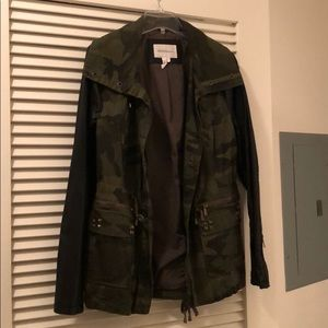 BCBG Generation Camo with leather sleeves jacket